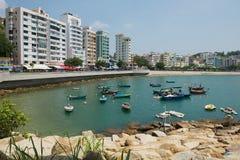 对斯坦利镇港口的看法在香港,中国 免版税库存照片