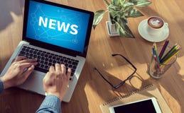 对新的更新,谈的通信新的更新,新的更新, Sof的时刻的新的更新标题媒介现场广播媒介新闻 免版税库存图片