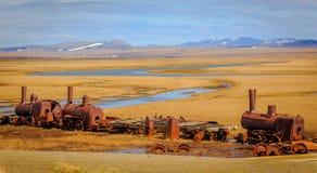 对无处的前列火车在所罗门, Ak 免版税图库摄影