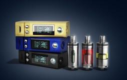 对无烟的抽烟的3d的电子cigaretts设备箱子mod烈 库存例证