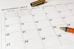 对日历11月的分析 图库摄影