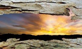 对日落的树皮窗口 库存照片