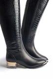 对时髦的妇女的皮靴 免版税库存图片