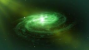 对星系的转动的螺旋在鲜绿色和白色颜色 绿色背景 向量例证