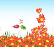 对春天的Wellcome用向日葵和夫妇鸟 库存例证
