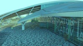 对普拉托夫机场终端的鸟瞰图  股票视频