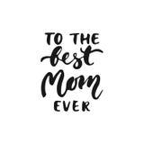对最佳的妈妈曾经的手拉的字法词组为母亲在白色背景隔绝的` s天 乐趣刷子墨水 库存照片