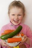 对有用的蔬菜的儿童健康 库存照片