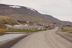 对朗伊尔城,挪威镇的看法  图库摄影