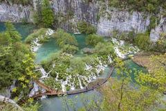 对木板走道的看法Plitvice湖的克罗地亚 库存照片