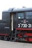 对机车的客舱的入口 特写镜头 免版税图库摄影