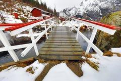 对村庄的桥梁在山河下 美丽的域前景横向挪威草莓 海岛lofoten 免版税库存照片