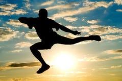 对杨的跳的人天空 免版税库存照片
