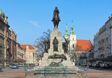 对格伦瓦德之战的纪念碑在克拉科夫,波兰 库存照片