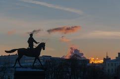 对格奥尔基・康斯坦丁诺维奇・朱可夫的纪念碑 免版税库存图片