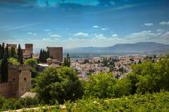 对格拉纳达市的看法从阿尔罕布拉宫,安大路西亚,西班牙 免版税库存图片