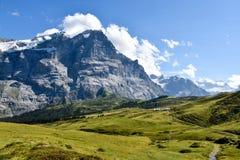 对格罗斯沙伊德格格林德瓦谷的,瑞士阿尔卑斯的看法, 图库摄影