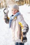 对森林地的男孩雪球多雪的投掷 免版税图库摄影