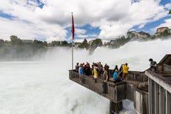 对欧洲最大的瀑布的看法  库存照片