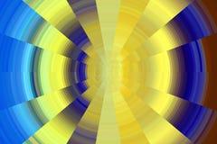 对比在黄色和蓝色颜色,背景的圈子 图库摄影
