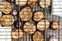 对比格栅栅格用油煎的夏南瓜、紫罗兰色葱和皮塔饼面包 免版税库存图片