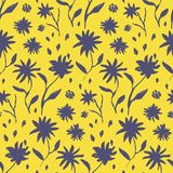 对比黄色手拉的墨水花纹花样 库存例证