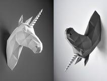 对比黑白独角兽两张照片拼贴画  库存照片