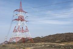 对沙漠的电 免版税库存照片