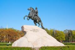 对沙皇和imperator彼得的纪念碑我伟大古铜色御马者,圣彼德堡 俄国 库存照片