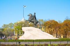 对沙皇和imperator彼得的纪念碑我伟大古铜色御马者,圣彼德堡 俄国 库存图片