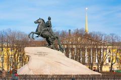 对沙皇和imperator彼得的纪念碑我伟大古铜色御马者,圣彼德堡 俄国 免版税库存照片