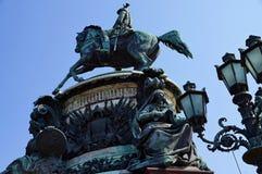 对沙皇尼古拉一世的纪念碑在圣彼德堡 免版税图库摄影