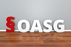 对法律的德国法律OASG简称在获取罪行3d例证的受害者民用要求  库存例证
