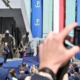 对波兰的人民的唐纳德・川普总统讲话 库存照片