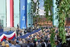 对波兰的人民的唐纳德・川普总统讲话 库存图片