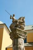 对波兹南的骑兵的纪念雕象 波兹南 库存图片