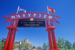 对海军码头,芝加哥,伊利诺伊的入口 免版税库存照片