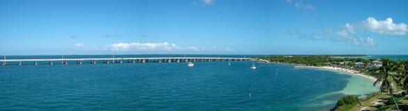 对海湾的看法在迈阿密全景 免版税库存照片