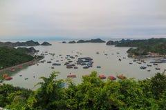 对海湾,猫Ba海岛的一个看法 免版税库存照片