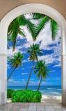 对海滩加勒比多米尼加共和国的repu的木门户开放主义的曲拱出口 图库摄影