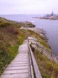 对海滩的木台阶 免版税图库摄影