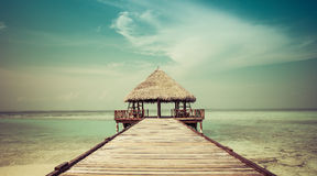 对海滩小屋的跳船 库存图片