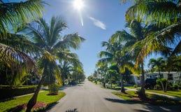 对海滩的方式与棕榈树在基韦斯特岛佛罗里达 库存图片