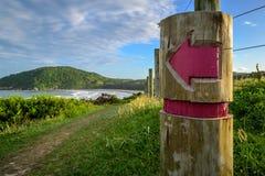 对海滩的标志 免版税库存照片