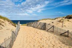 对海滩的道路方式在鳕鱼角 免版税库存图片