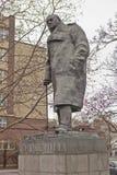 对温斯顿・丘吉尔的纪念碑 布拉格 cesky捷克krumlov中世纪老共和国城镇视图 免版税库存照片