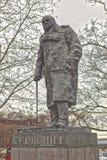 对温斯顿・丘吉尔的纪念碑 布拉格 cesky捷克krumlov中世纪老共和国城镇视图 库存照片