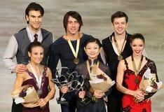对滑冰的奖章获得者 库存图片