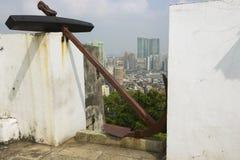 对澳门市地平线的看法从我们的圣保罗登上的夫人堡垒在澳门,中国 免版税库存照片