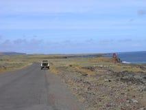 对火山方式的复活节内部海岛rano raraku 免版税图库摄影